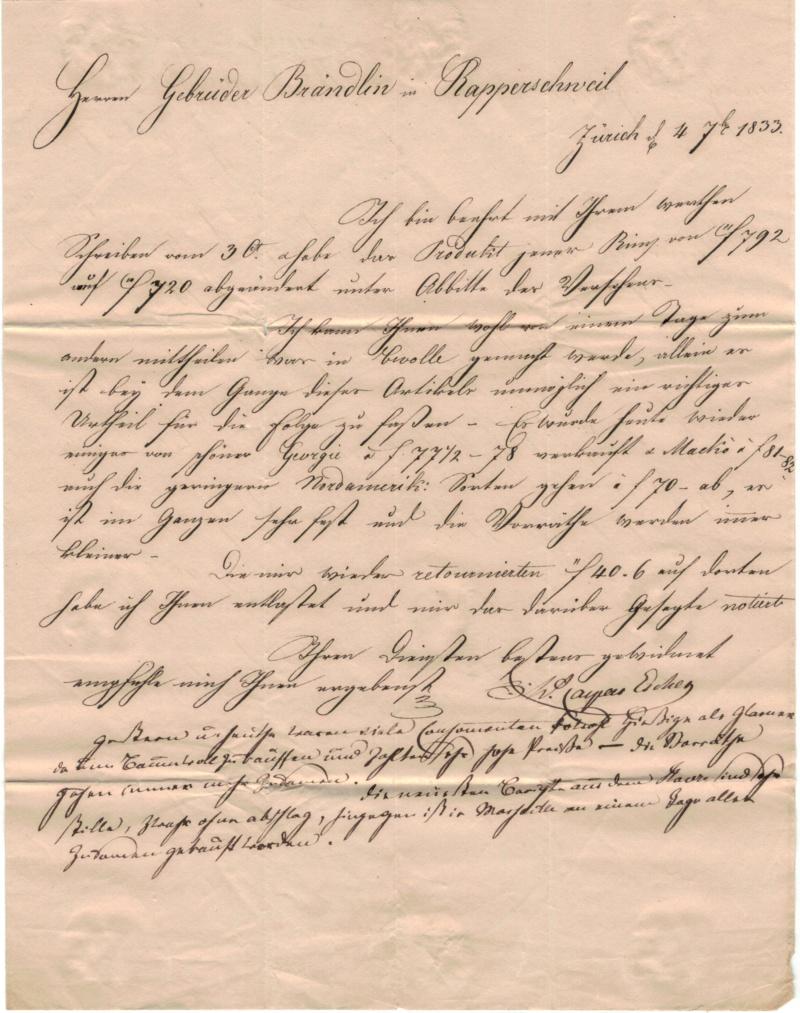 Brief mit Halbkreisstempel Zürich , 4. Sept. 1833 Vorphi21