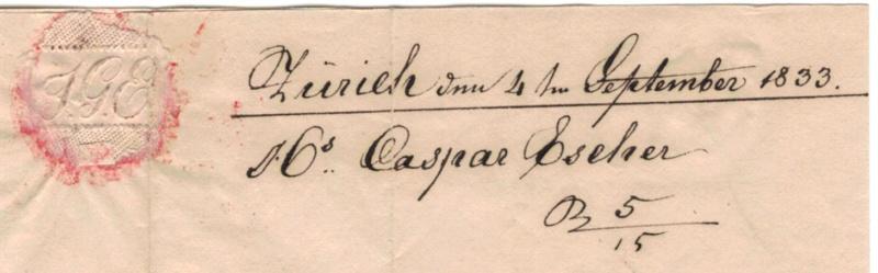 Brief mit Halbkreisstempel Zürich , 4. Sept. 1833 Vorphi22