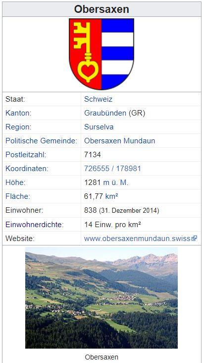Obersaxen GR - 838 Einwohner Zi122