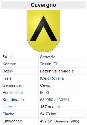 Cavergno TI - 492 Einwohner Zi127