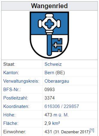 Wangenried BE - 431 Einwohner Zi130