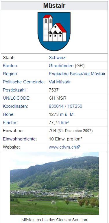 Müstair GR - 764 Einwohner Zi131