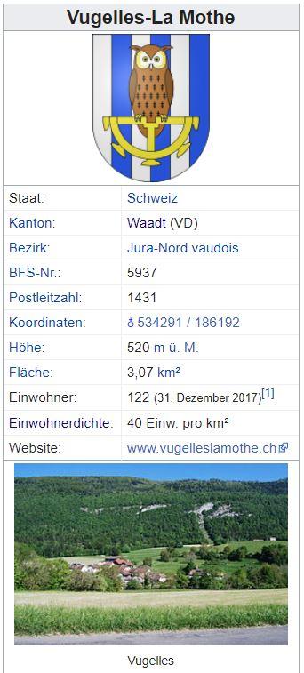 Vugelles-La Mothe VD - 122 Einwohner Zi33
