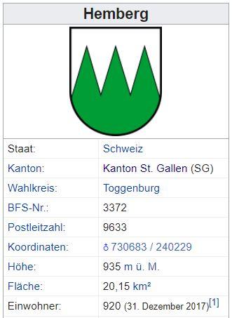 Hemberg SG - 920 Einwohner Zi55