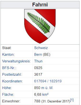 Fahrni bei Thun BE - 788 Einwohner Zi60