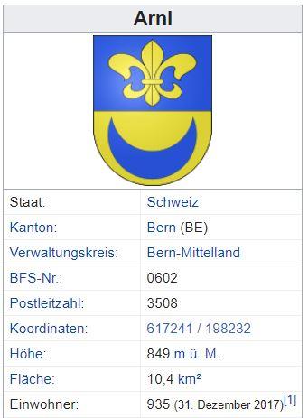 Arni (bei Biglen) BE - 935 Einwohner Zi87