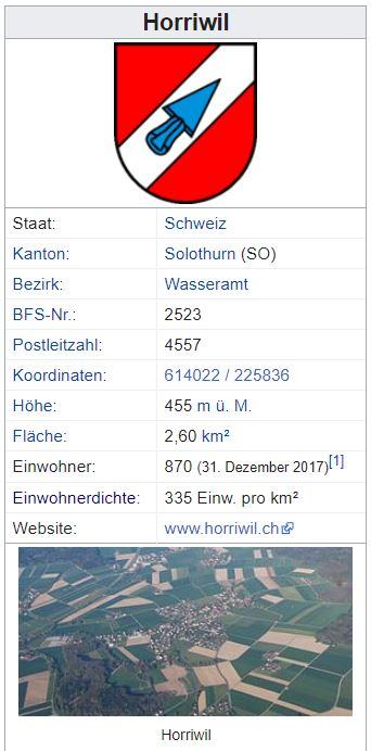 Horriwil SO - 860 Einwohner Zi97
