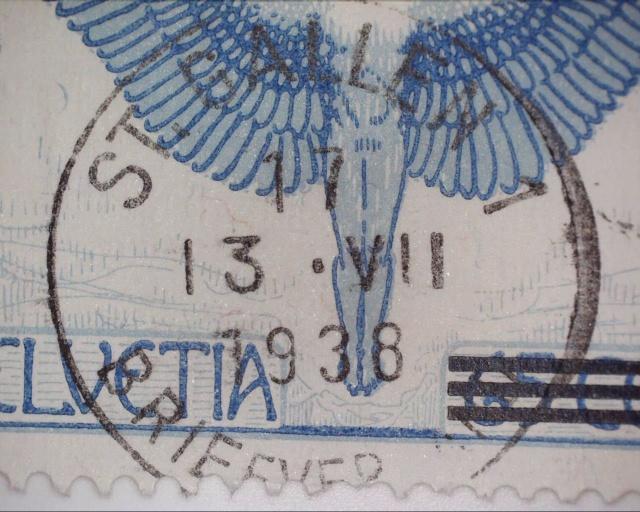 Zwergstempel 1938 St.Gallen auf blauem Ikarus Zwergs10
