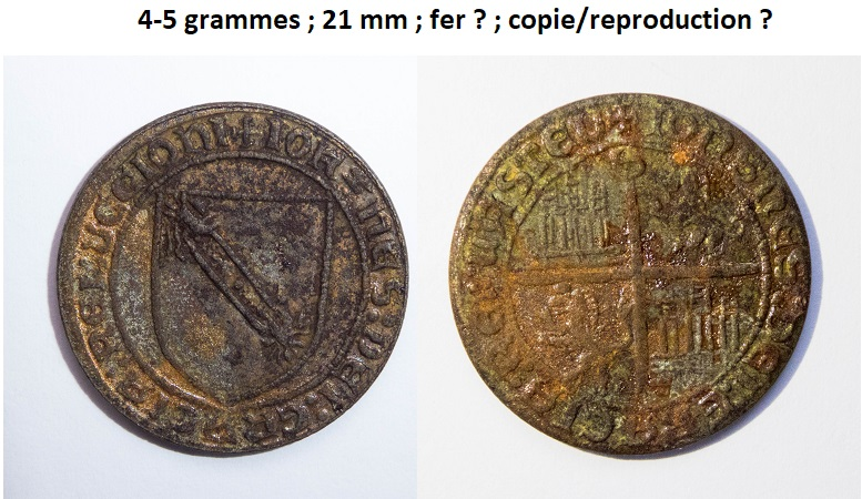 """reproduction d'un Double d'or espagnol """"au bandeau"""" pour Jean II (1406-1451) ...  Pizoce11"""