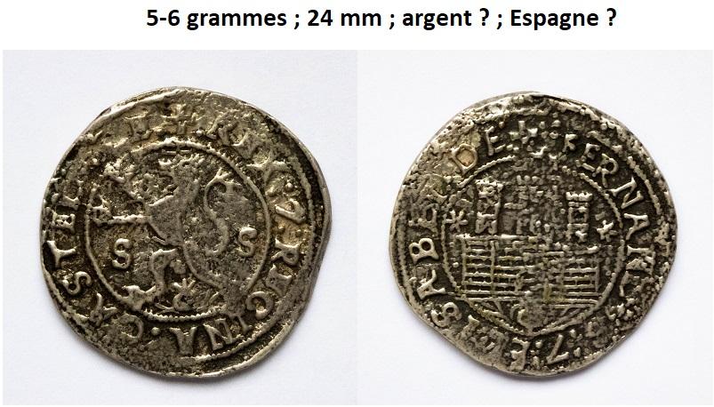 Monnaie espagnole en argent (XVe siècle) ? Pizoce12