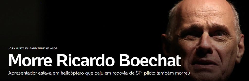 Ricardo Boechat morre em queda de helicóptero em SP - JORNALISTA DA BAND Sem_tz14
