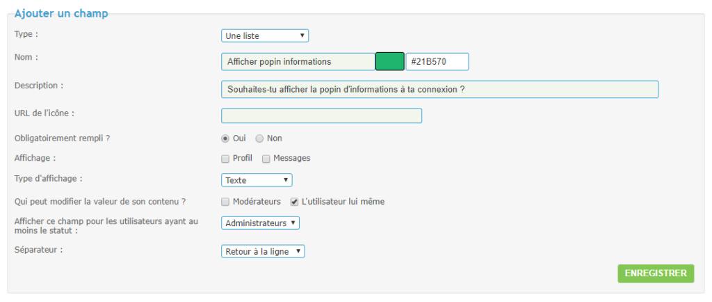 Afficher une popin d'informations à la connexion Ajou-c10