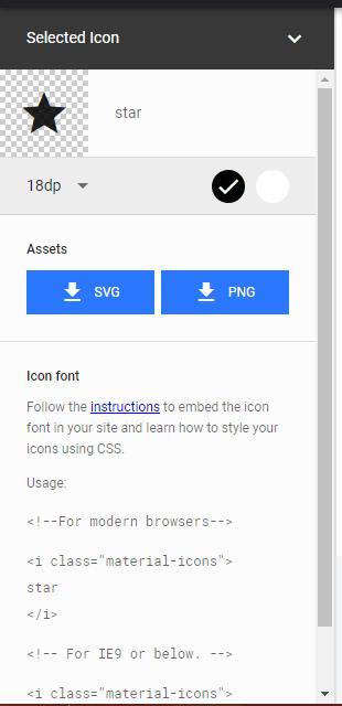 Utiliser des icônes de Material-Design Materi10