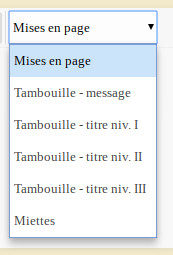 Liste déroulante de mises en page Mep-li12