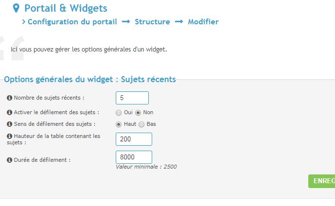 Afficher le widget des sujets récents sur son en-tête Portai12