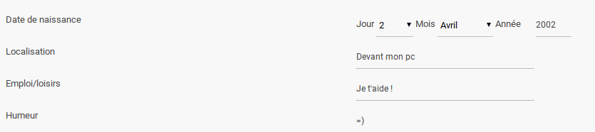 Modifier l'affichage des champs de profil Screen24
