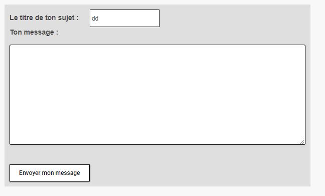 Formulaire pour répondre à ou écrire un sujet Test-f10