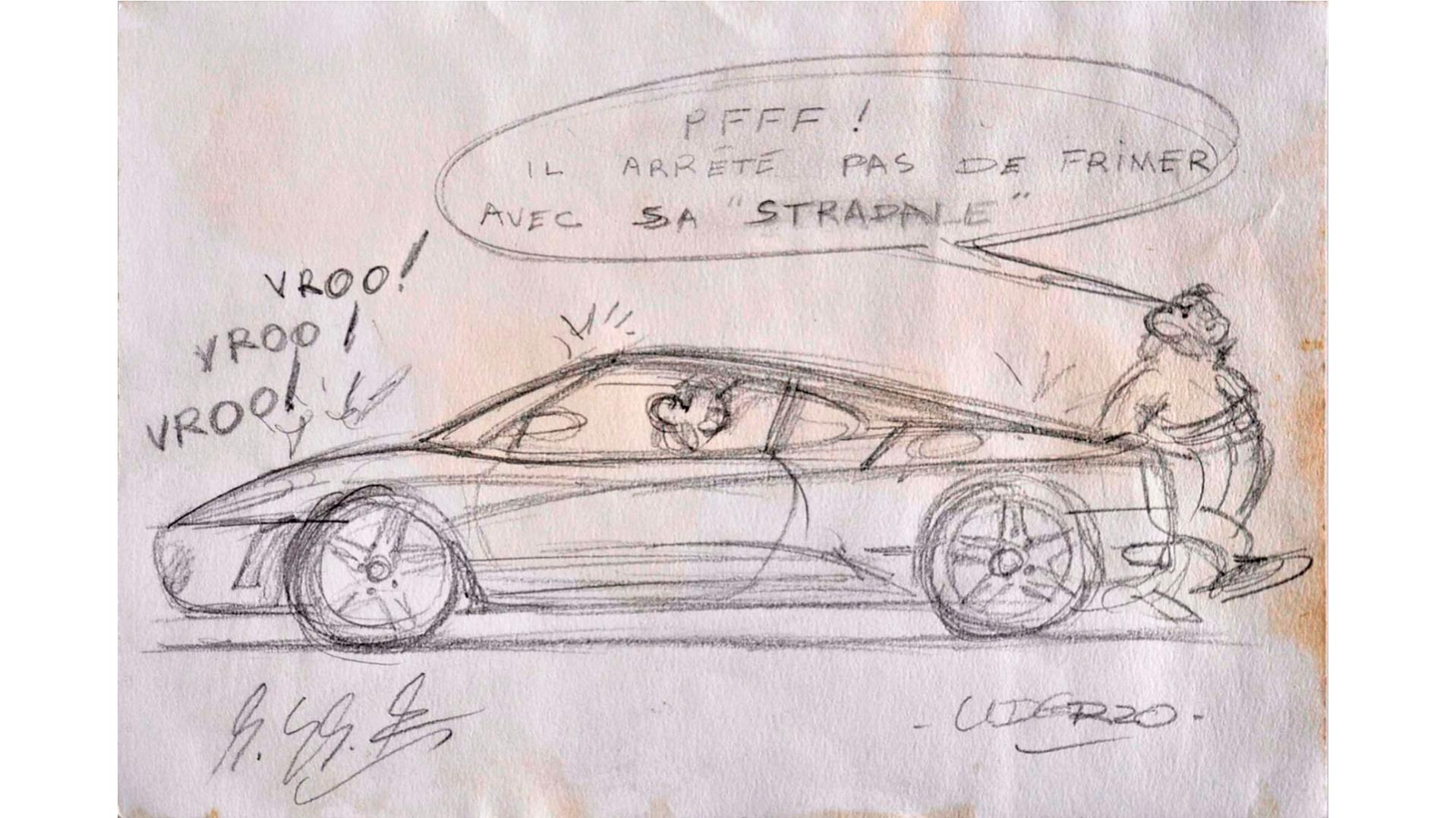 Dessins d'Albert Uderzo pour Ferrari Tzolzo11
