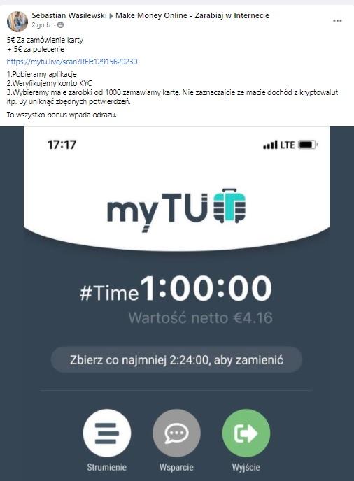 myTU app 4.17 euro za weryfikację i kolejne tyle za polecenie Bezety10