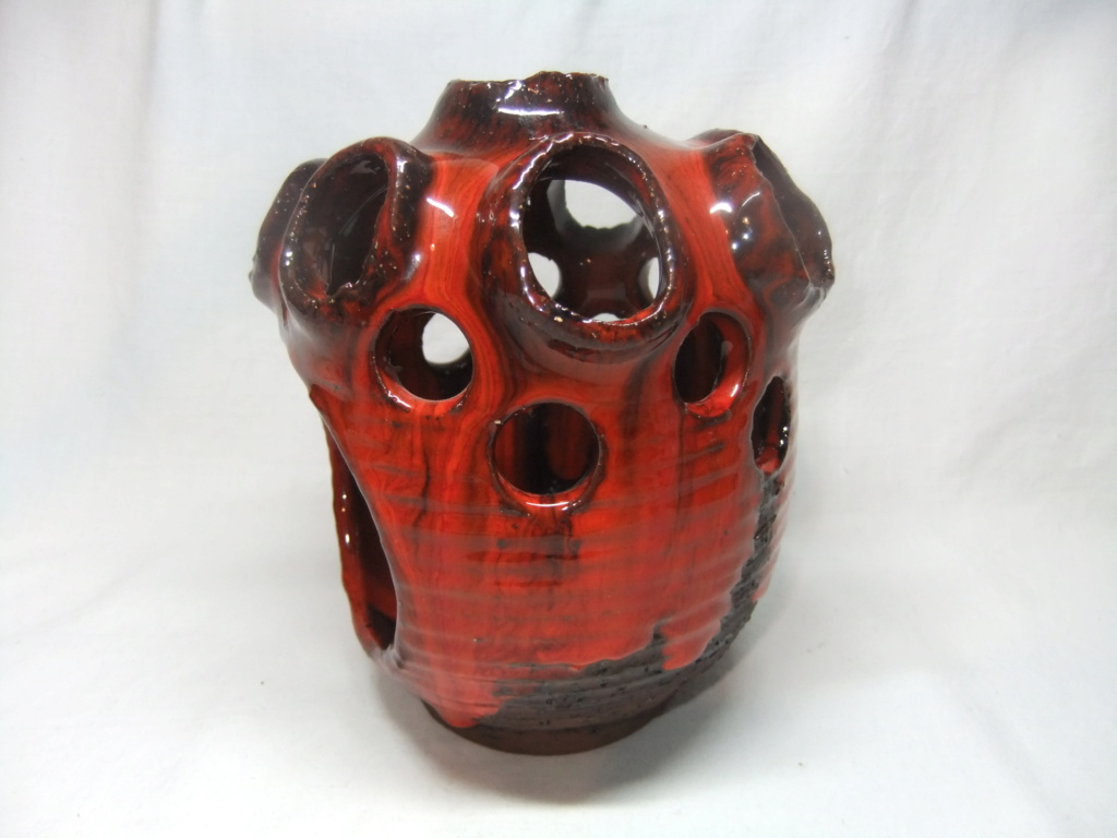 Red Drip Glaze Tea Light Holder? Nimmie 206? Dscf3410