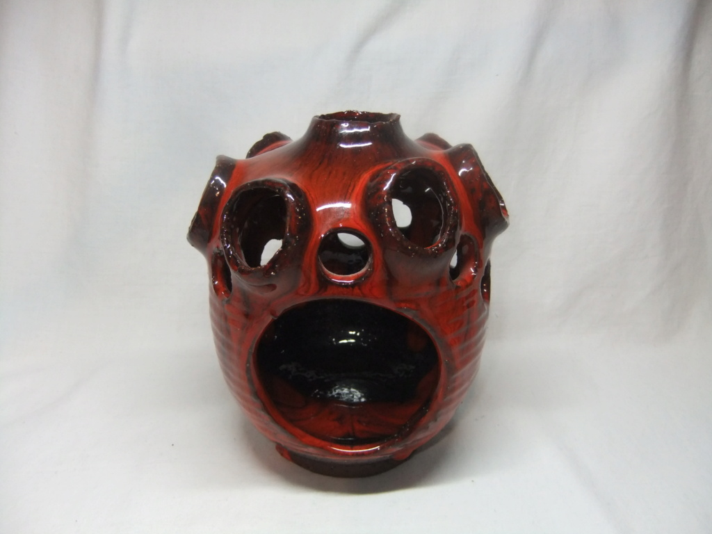Red Drip Glaze Tea Light Holder? Nimmie 206? Dscf3412