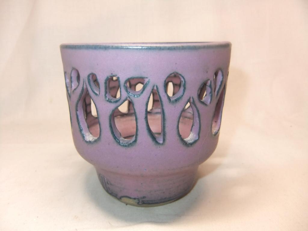 Purple Pottery Pierced Bowl/Dish/Tealight Holder - Unknown 2 dots Mark? Dscf5610