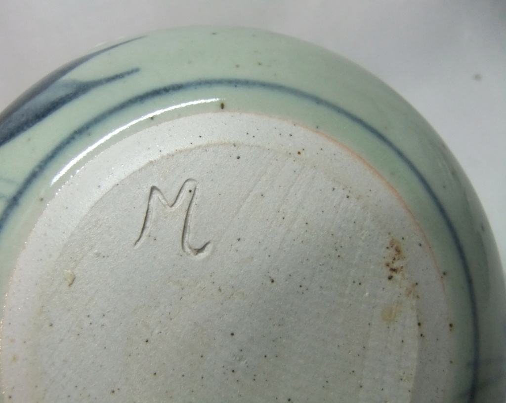 Floral Pottery Bowl Marked M Dscf9525