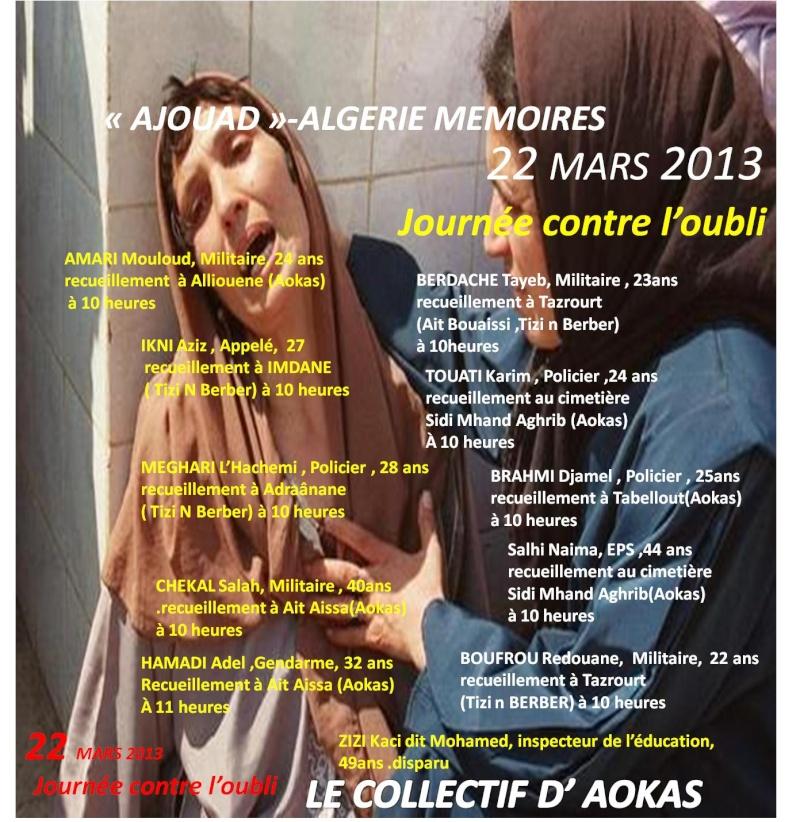"""Le collectif d'Aokas- """"Ajouad"""" Algerie Memoires: 22 mars 2013, journée contre l'oubli Ajouad14"""