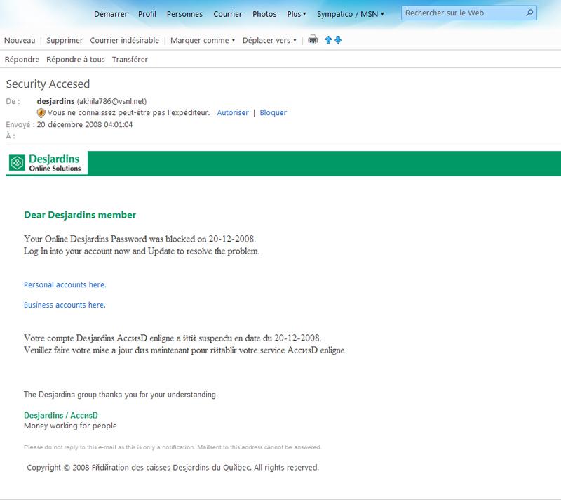 Tentative d'hameçonnage(Phishing) ce qu'il faut savoir Accesd16
