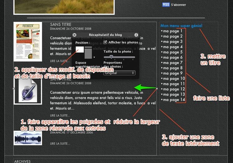 Blog Iweb : mettre Archives sur la page principale… c'est possible ? Ziweb10