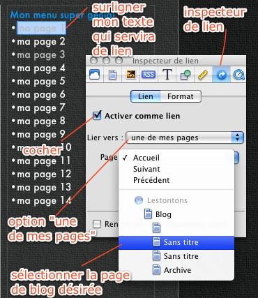 Blog Iweb : mettre Archives sur la page principale… c'est possible ? Ziweb210