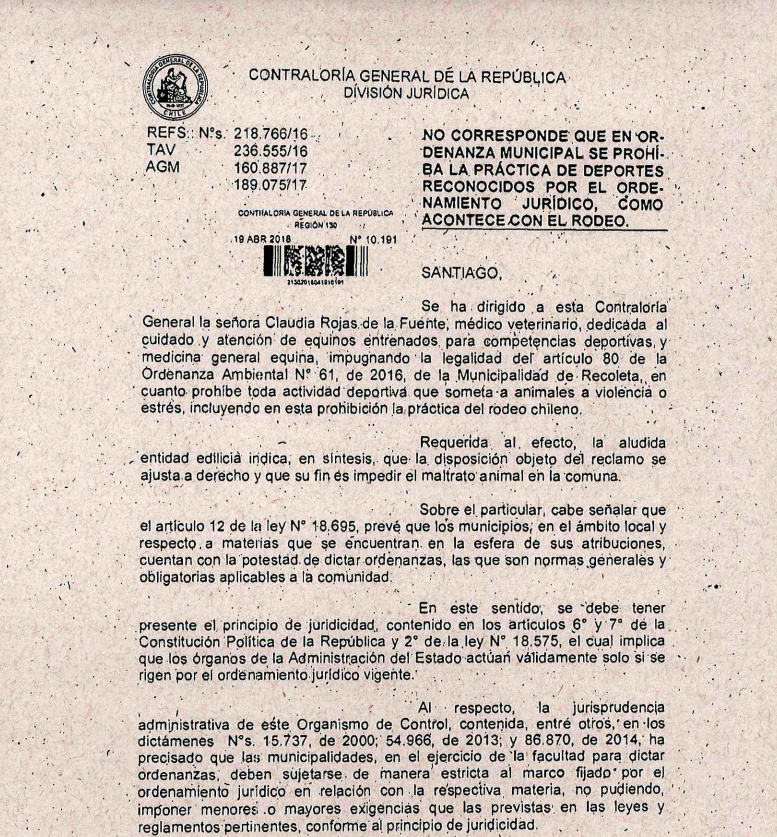 CONTRALORIA DECLARA ILEGAL ORDENANZA MUNICIPAL PROHÍBE RODEO Recole10
