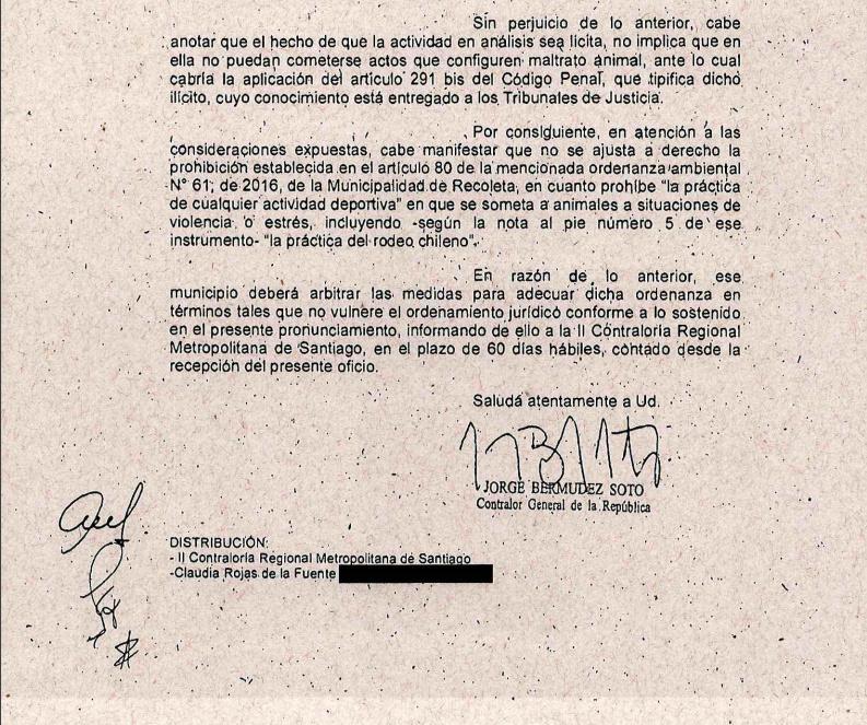 CONTRALORIA DECLARA ILEGAL ORDENANZA MUNICIPAL PROHÍBE RODEO Recole12