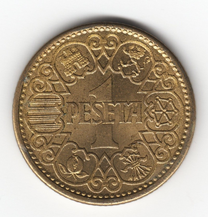 """peseta 1944 - 1 Peseta 1944 """"La del 1"""". Francisco Franco. Estado Español. Img59410"""