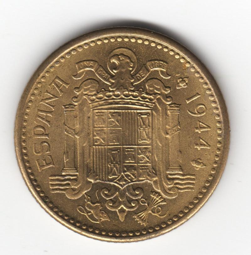 """peseta 1944 - 1 Peseta 1944 """"La del 1"""". Francisco Franco. Estado Español. Img59510"""