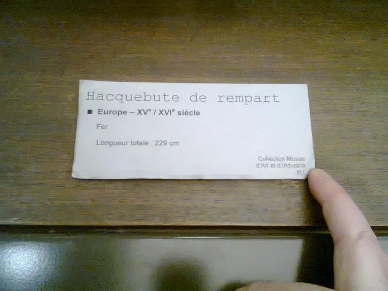[artefact] hacquebute de rempart  Photo121