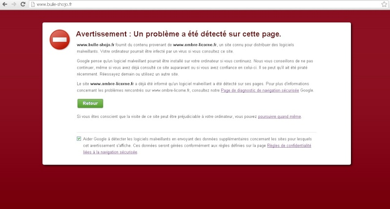 Problème de logiciels malveillants sous Chrome Bs1010
