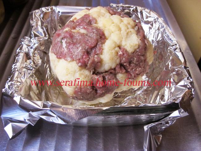 Запеченая цветная капуста, фаршированная мясным фаршем Img_0311