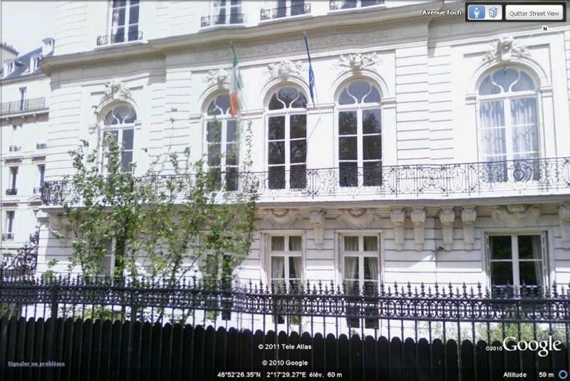Les ambassades étrangères en France vues depuis Google Earth Irland11