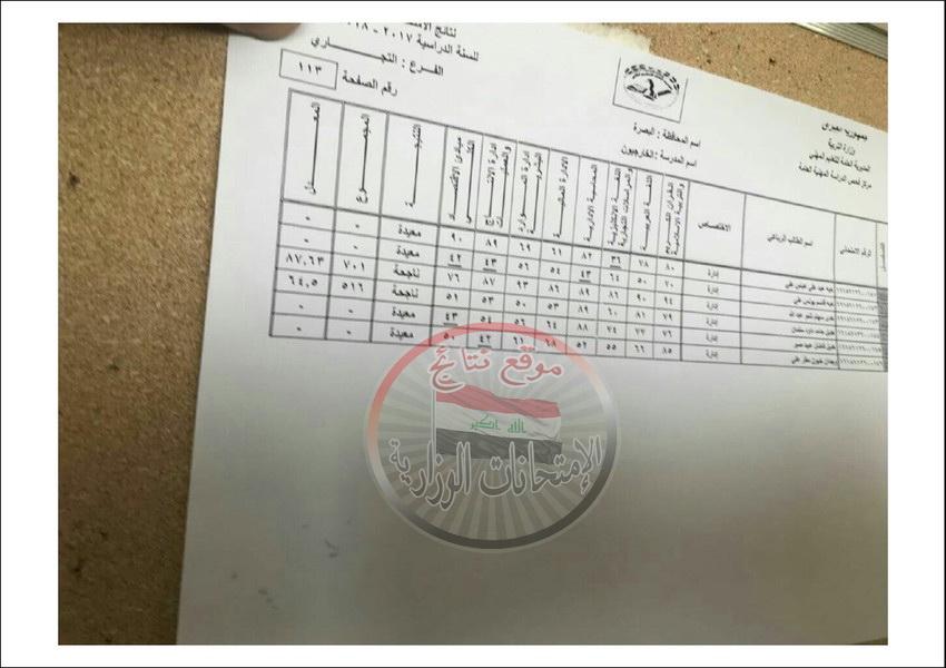 نتائج امتحانات المهني للطلبة الخارجيين محافظة البصرة للعام الدراسي 2017 - 2018 الدور الاول  1112