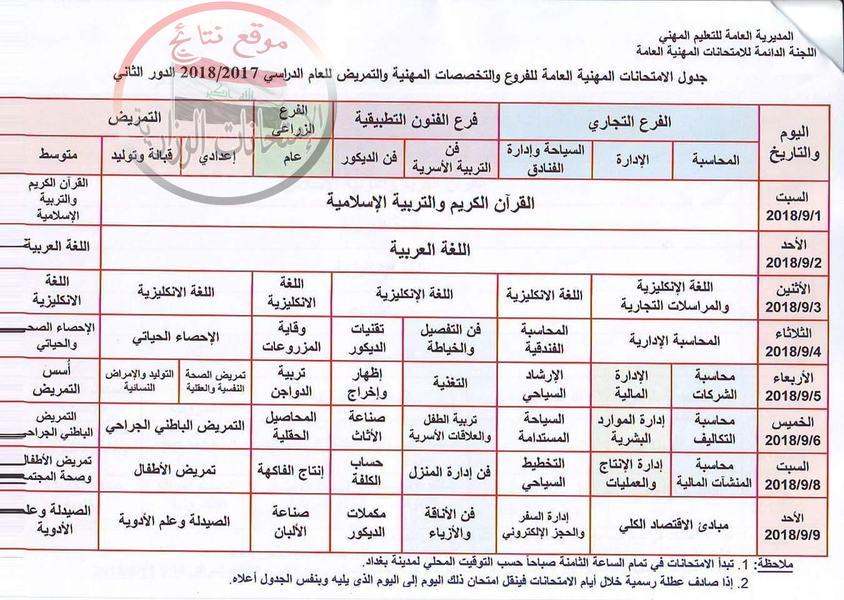 جدول الامتحانات المهنية العامة للفروع والتخصصات المهنية الدور الثاني 2018  135