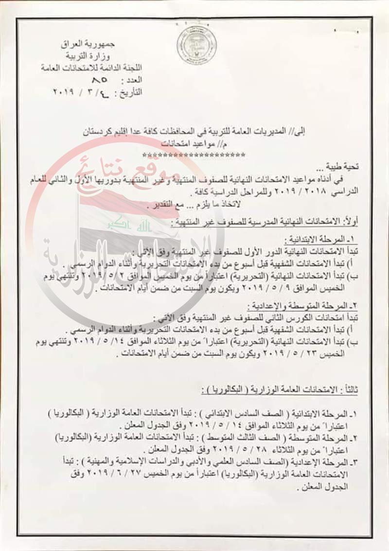 موعد وجدول الامتحانات النهائية للصفوف غير المنتهية الدور الأول 2019 فى العراق  1515