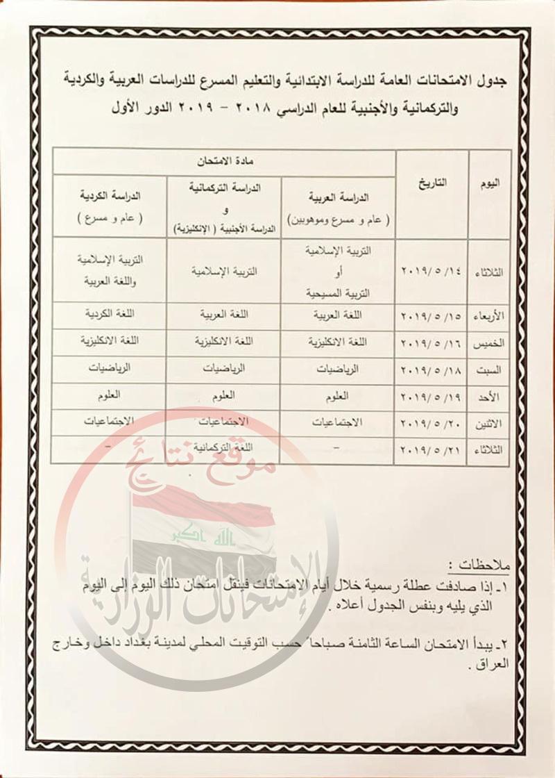 جدول امتحانات الدور الأول للسادس الابتدائى 2019 فى العراق  1713