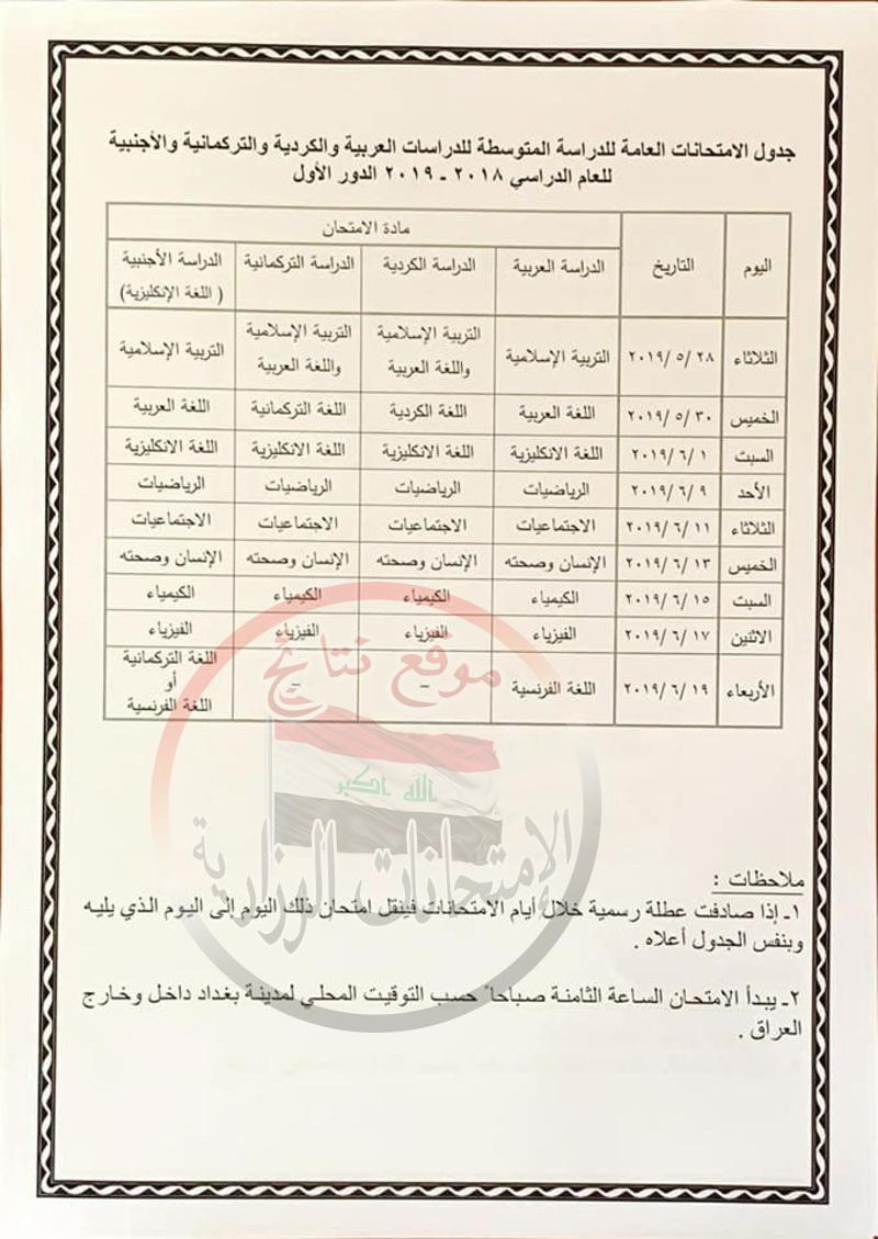 جدول امتحانات الدور الأول للصف الثالث المتوسط 2019 فى العراق  1813