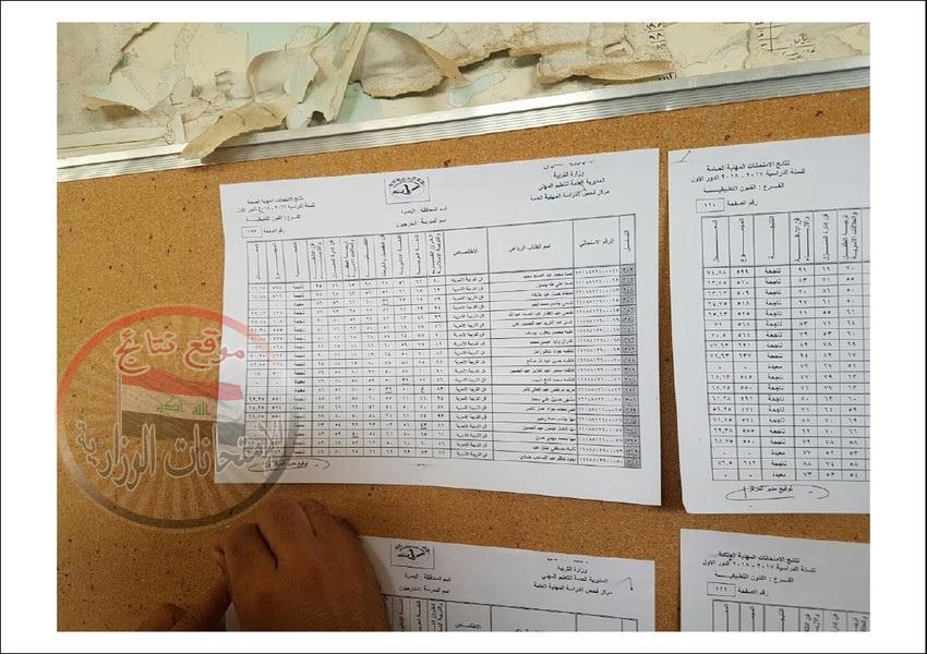 نتائج امتحانات المهني للطلبة الخارجيين محافظة البصرة للعام الدراسي 2017 - 2018 الدور الاول  1910