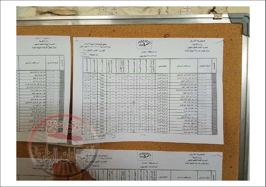 نتائج امتحانات المهني للطلبة الخارجيين محافظة البصرة للعام الدراسي 2017 - 2018 الدور الاول  2011