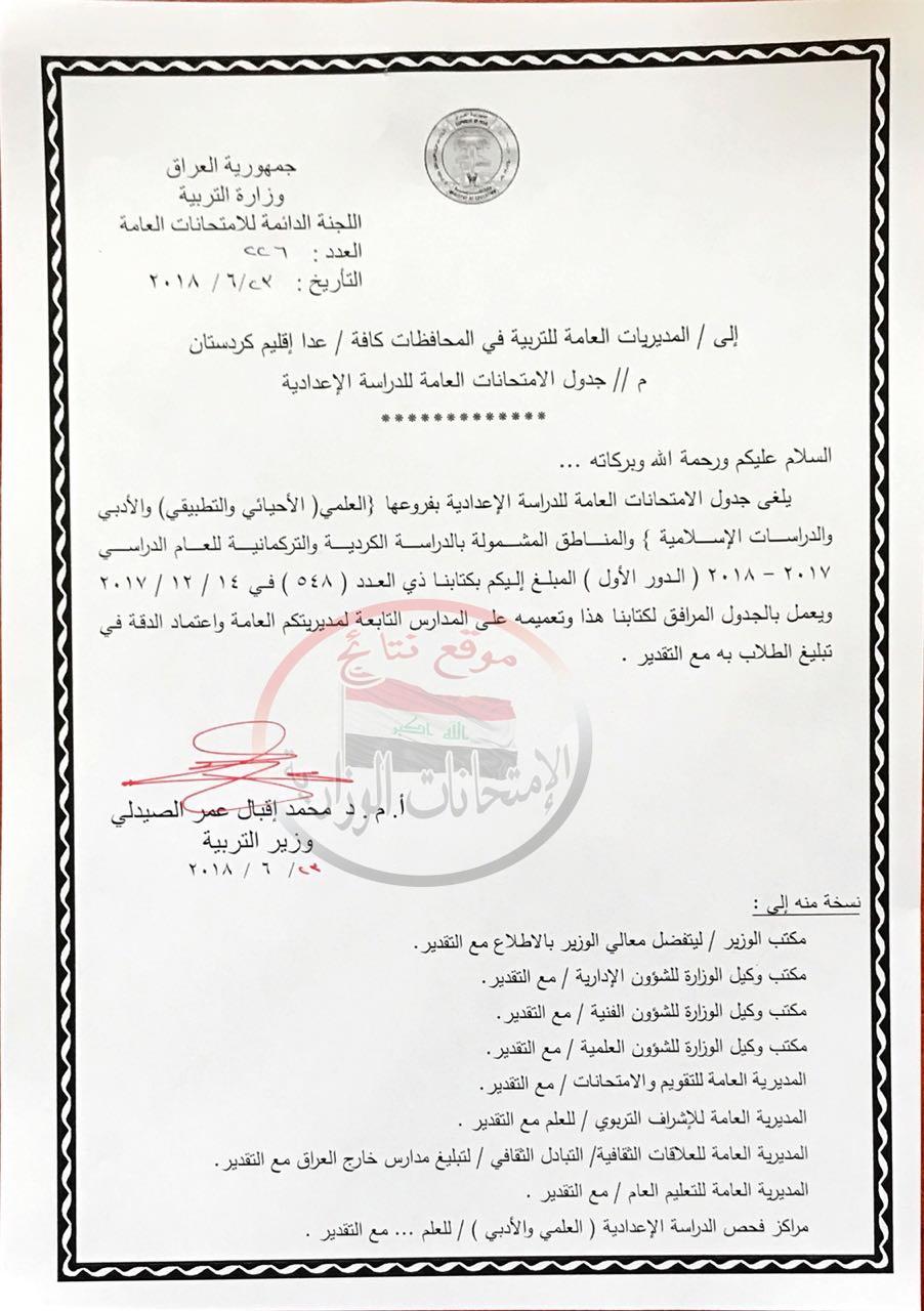 الغاء امتحان التربية الاسلامية للسادس الاعدادى 2018 وتعليمات جديده 216