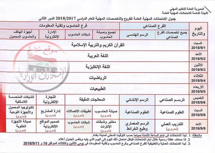 جدول الامتحانات المهنية العامة للفروع والتخصصات المهنية الدور الثاني 2018  227