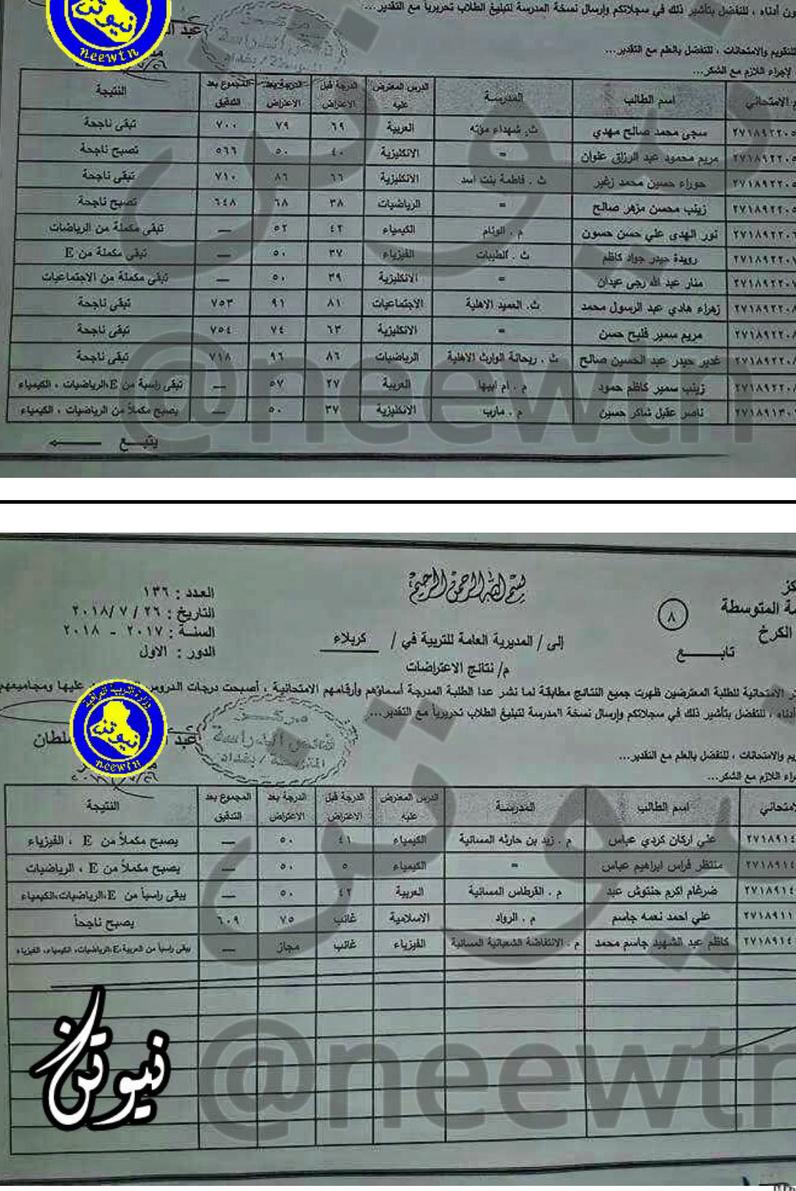 نتائج اعتراضات الصف الثالث متوسط الدور الأول ٢٠١٨ تربية محافظة كربلاء  236