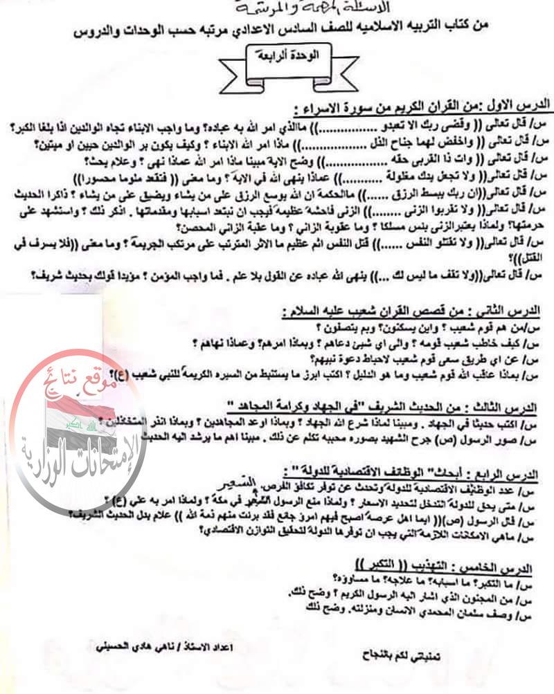 مرشحات التربية الاسلامية الهامة للسادس الاعدادى 2018 412